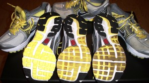 From left to right: Newset sneaker has better treads, in the middle the sneaker I have just retired after five months of wear, on the right, the sneaker before that!